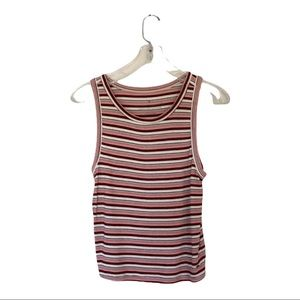 American Eagle white black and Red striped tank